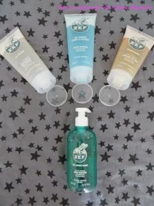 Le p'tit ZEF: shampoing, gel douche, gel douche corps et cheveux et gel lavant mains