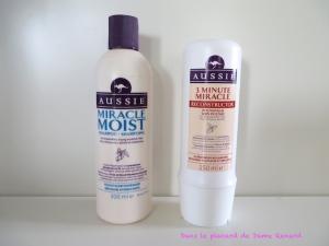 Les produits capillaires Aussie: Le shampoing Miracle Moist et le soin 3 Minute Miracle Recontructor
