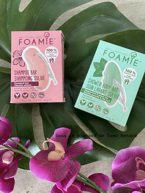 Foamie: shampooing à l'hibiscus pour cheveux abîmés et soin lavant menthe poivrée et thé vert
