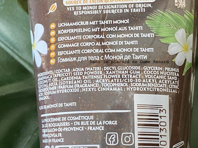 Gommage corps Lovea au monoï de Tahiti