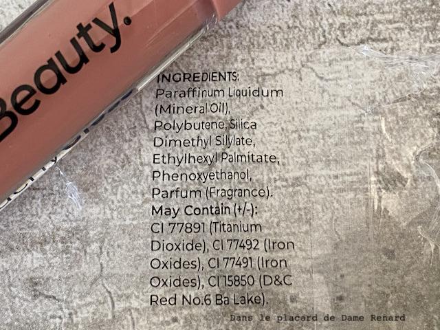 Huile à lèvres hydratante Peachy GlossMCo Beautyteinte Peachy Nude