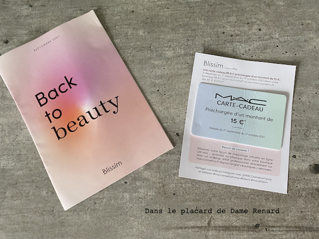 paperasse blissim x mac cosmetics: back to beauty septembre 2021