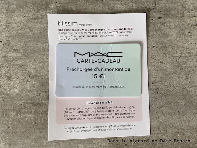 carte cadeau blissim x mac cosmetics: back to beauty septembre 2021